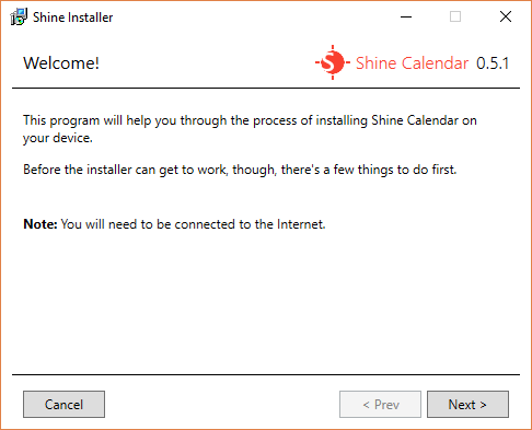 The welcome page for Shine Installer