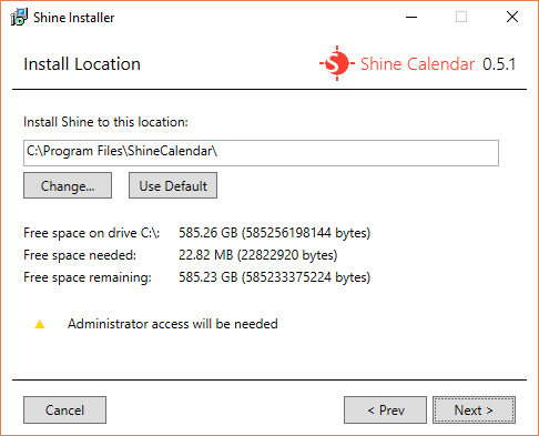 The Install Location screen for Shine Installer