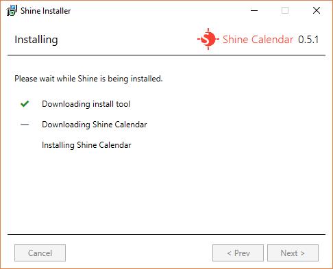 The Installing screen for Shine Installer