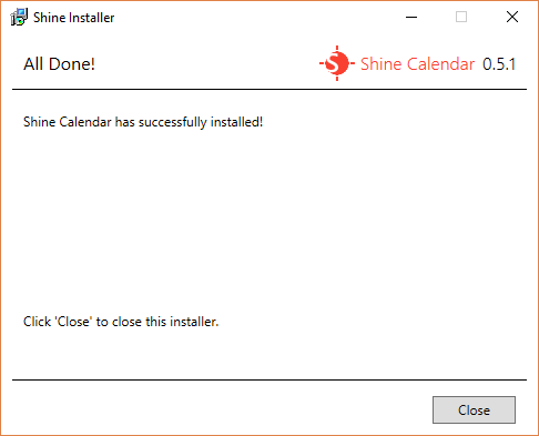 The All Done screen for Shine Installer