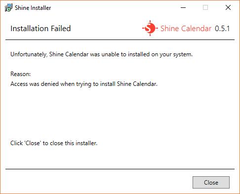 The Installation Failed screen for Shine Installer