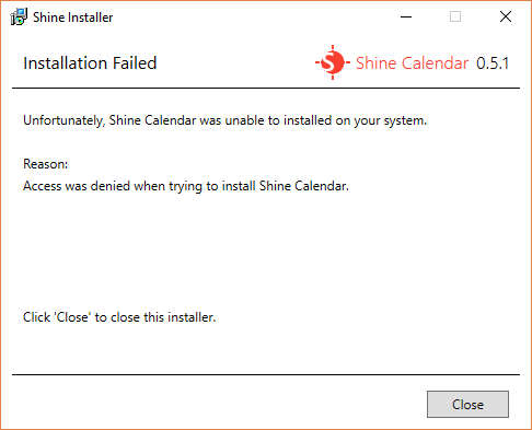 The Installation Failed screen for Shine Installer